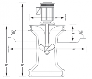 Floating surface aerator spec drawing